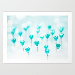 Turquoise hearts Art Print