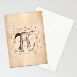 Pi Symbol Sketch Stationery Cards