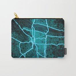 Portland, OR, USA, Blue, White, Neon, Glow, City, Map Carry-All Pouch