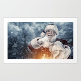 Vintage Santa Claus carrying gift sack and lantern Art Print