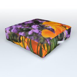 Poppies And Purple Lantana Outdoor Floor Cushion