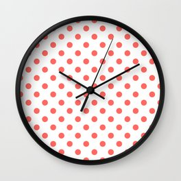 Small Polka Dots - Pastel Red on White Wall Clock