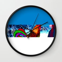 Rooster lady art graphic  Wall Clock