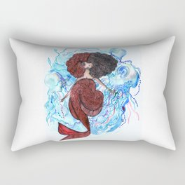 Mermaid and jellyfish, red and blue Rectangular Pillow