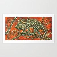 chameleon Art Prints featuring Chameleon by Sherdeb Akadan