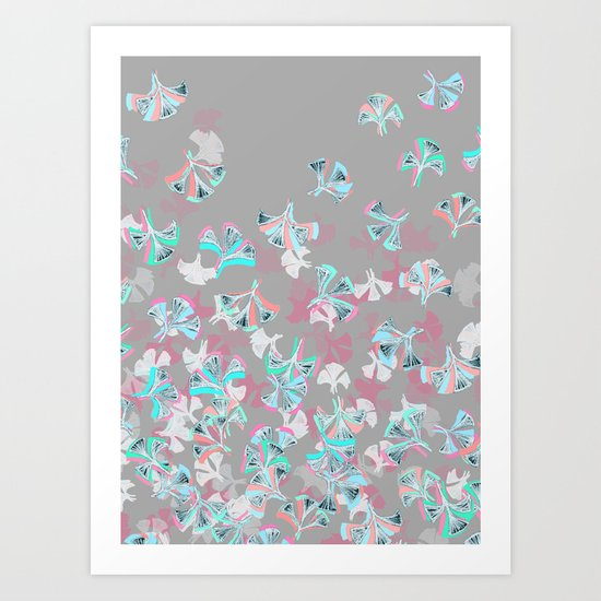 Flight - abstract in pink, grey, white & aqua Art Print