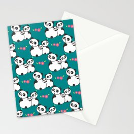 Panda family on meadow Stationery Cards