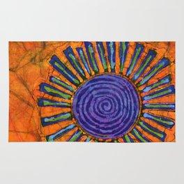 Orange and purple Floral batik Rug