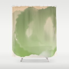 Fluffy Circles - Green Shower Curtain