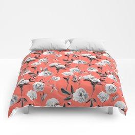 Peonies Mono Coral Comforters