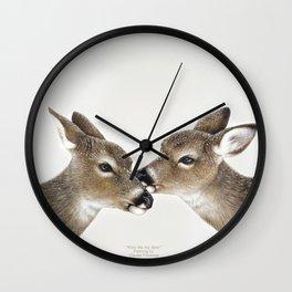 Kiss me my deer, by Claude Thivierge Wall Clock