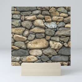 Stone Wall in Grey Beige Boulders Mini Art Print
