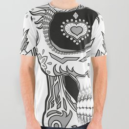 Grey dead skull All Over Graphic Tee
