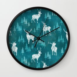 Ice Forest Deer Turquoise Wall Clock