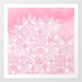 Modern white floral lace mandala pink watercolor illustration pattern Art Print