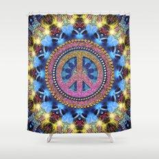 Groovy Hippie Love Mandala Shower Curtain
