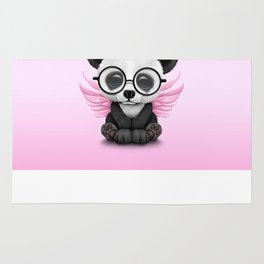 Cute Panda Cub with Fairy Wings and Glasses Pink Rug