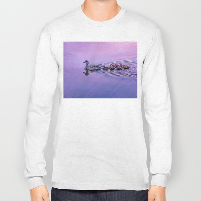 Ducklings floating at sunset Long Sleeve T-shirt