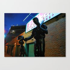 Ted  -- Ted Williams Statue outside Fenway Park in Boston at dusk, Red Sox Canvas Print