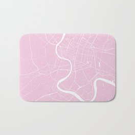 Bangkok Thailand Minimal Street Map - Pastel Pink and White Bath Mat