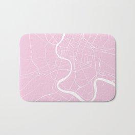 Bangkok Thailand Minimal Street Map - Pastel Pink and White Bath Mat