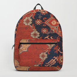 Southwest Tuscan Shapes I // 18th Century Aged Dark Blue Redish Yellow Colorful Ornate Rug Pattern Backpack