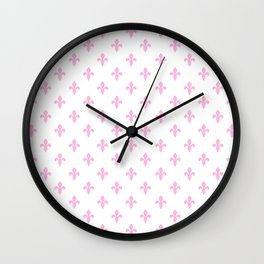 Fleur-de-Lis (Pink & White Pattern) Wall Clock