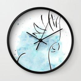Cockatoo Abstract Brush - Blue Wall Clock