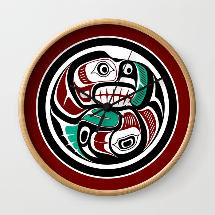 Northwest Pacific coast Otter chasing Salmon Wall Clock