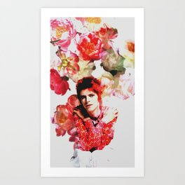 Bowie and Flowers 2 Art Print