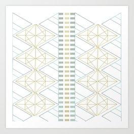 Gold Aqua Geometric Pattern Art Print