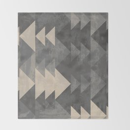 Geometric triangles abstract pattern - Gray tones & Beige Throw Blanket