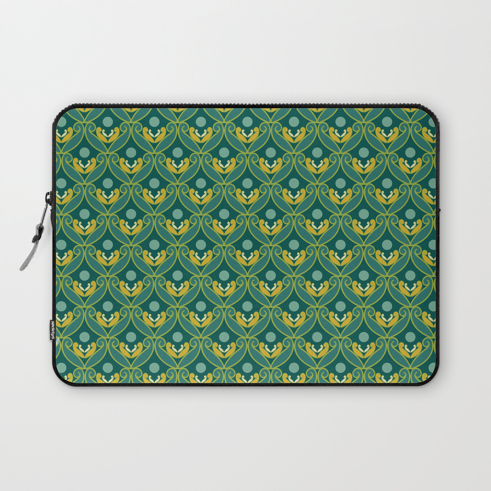 Stylized Lotus In Blue, Green And Gold Laptop Sleeve LSV8867942