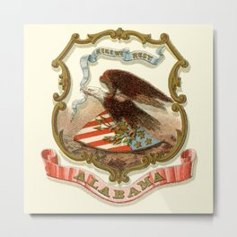 Alabama state coat of arms illustrated in 1876 Metal Print