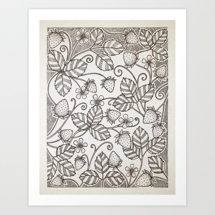 Strawberry pattern 2 Art Print
