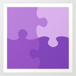 Pastel Ultra Violet Puzzle Pattern Jigsaw Pieces Art Print