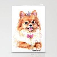pomeranian Stationery Cards featuring Pomeranian Princess by 13 Styx