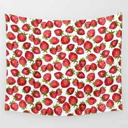 Watercolor Strawberries Wall Tapestry