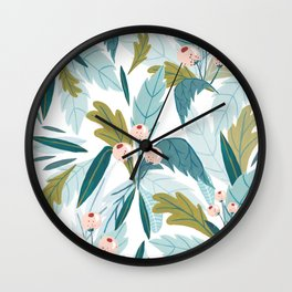 Soft Folk Florals Wall Clock