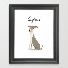 Greyhound - Cute Dog Series Framed Art Print