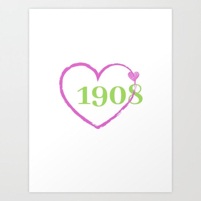1908 Heart Art Print