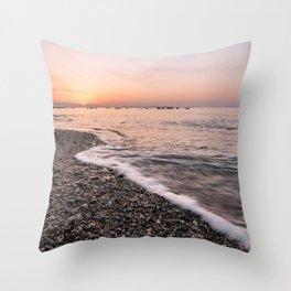 Last rays of light at sunset Throw Pillow