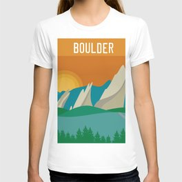 Boulder, Colorado - Skyline Illustration by Loose Petals T-shirt