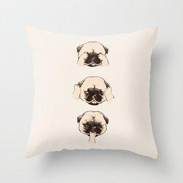 No Evil Pug Throw Pillow