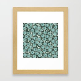 Flower Bouquet Pattern Mint Green on Green Framed Art Print