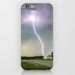 Close Call - Lightning Strike in Kansas Storm iPhone Case