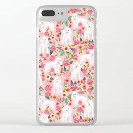 Toy Poodle pattern print by pet friendly pink florals dog with flower pattern cute toy poodles Clear iPhone Case
