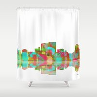 darwin Shower Curtains featuring Darwin Skyline 1 by Marlene Watson