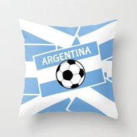 argentina Throw Pillows featuring Argentina Football by mailboxdisco