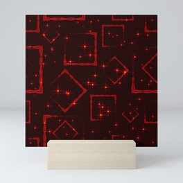 Maroon rhombuses and squares at the intersection with the stars on a dark background. Mini Art Print